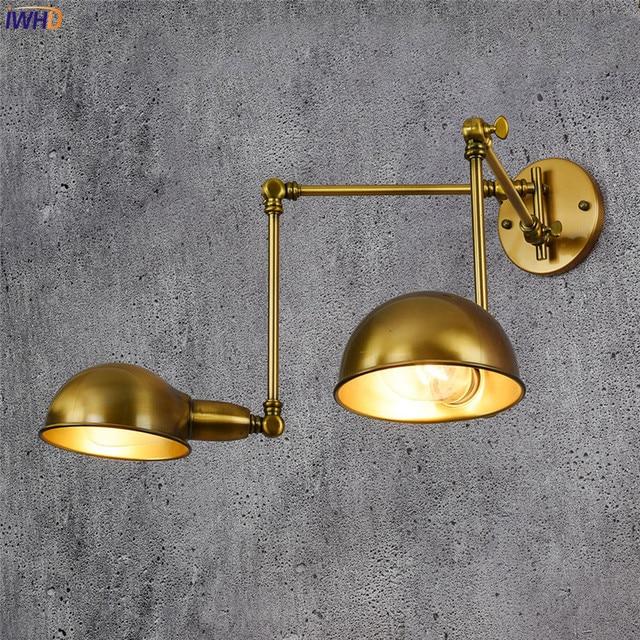 IWHD Bakır Ayarlanabilir Duvar Lambası Antika 2 Kafaları Wandlamp Retro Loft Endüstriyel Duvar Lambası Edison Aplik Armatür