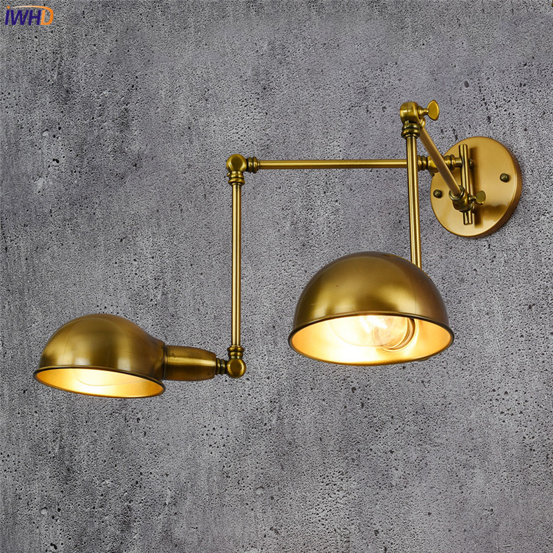 IWHD Copper Adjustable Vintage Wall Lamp Antique 2 Heads Wandlamp Retro Loft Industrial Wall Light Edison Sconce Luminaire e27 retro vintage industrial loft copper