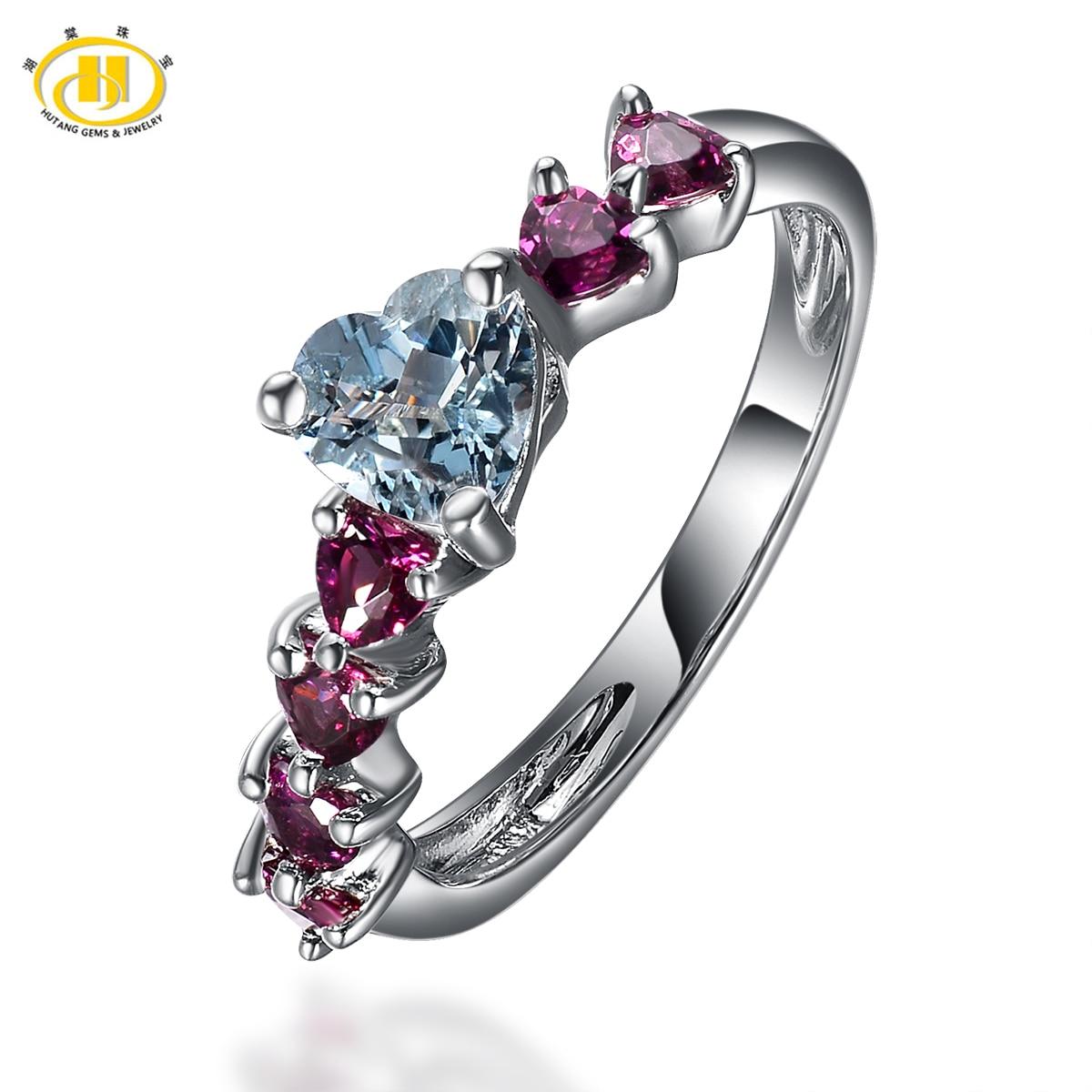 Hutang Womens Natural Aquamarine and Rhodolite Garnet GemstoneRings 925 Sterling Silver Heart Ring Wedding Fine Jewelry Gift