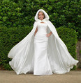 Women Wedding Shawl Floor Length White Faux Fur Trim Winter Christmas Bridal Cape Wedding Cloaks Hooded Party Wraps Jacket