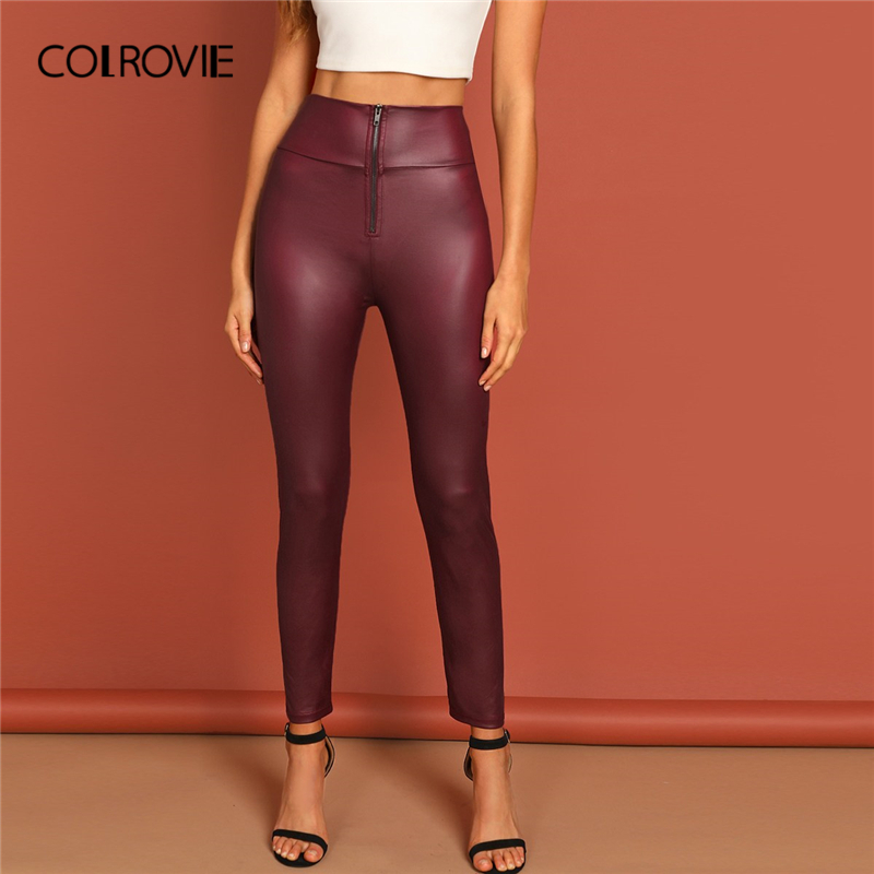 COLROVIE Burgundy Solid Exposed Zipper Front Christmas   Legging   2019 Spring Streetwear Fashion Casual Pant Female Korean Trouser