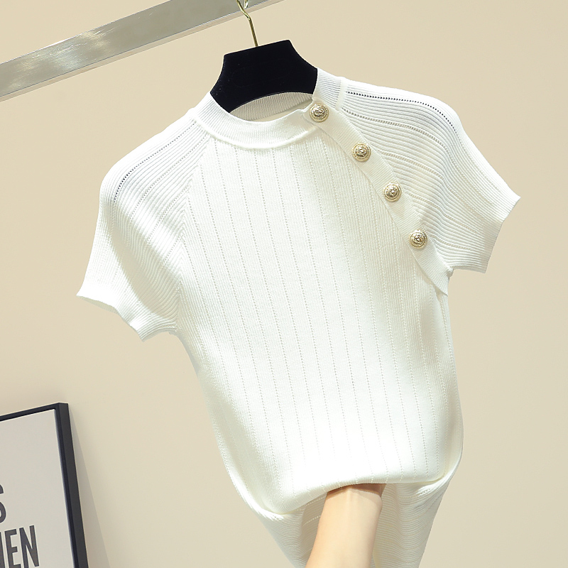 Shintimes Thin Knitted Cotton T Shirt Button Short Sleeve Tshirt Women 2019 Summer Solid Casual T-Shirt Female Tee Shirt Femme