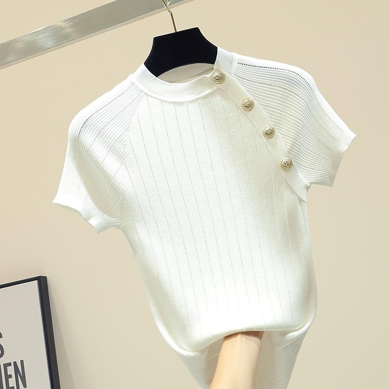Shintimes Thin Knitted White T Shirt Button Short Sleeve Tshirt Women 2020 Summer Solid Casual T-Shirt Female Tee Shirt Femme