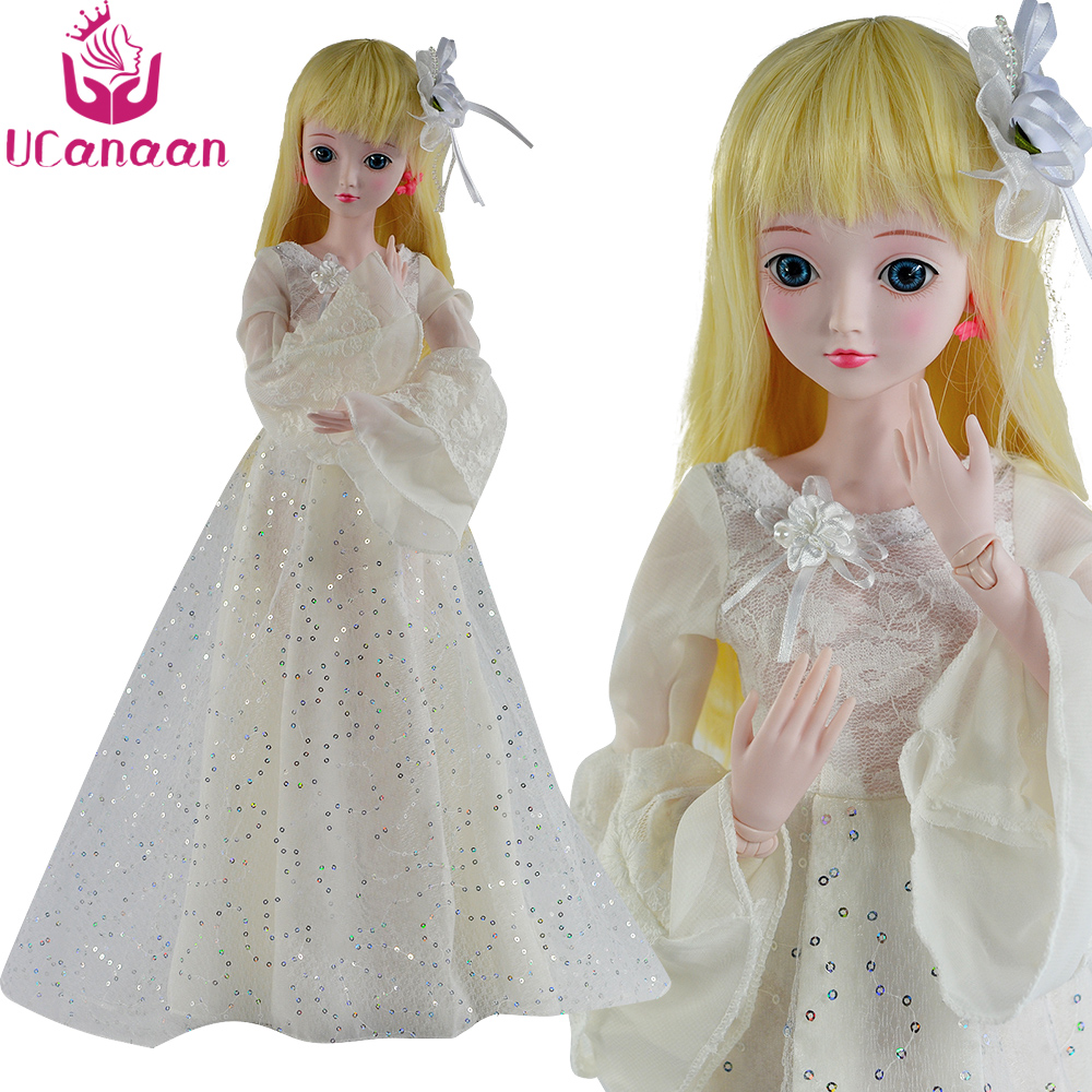 UCanaan 24'' 60CM Ball Jointed Doll 1/3 SD BJD Dolls With Outfits White Dress Shoes Wig Makeup Girls DIY Dressup Toys 1288 selfie stick bluetooth extendable handheld monopod tripod mount for dslr camera gopro motorola moto x g g4 g3 play plus