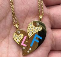 2017 New Gold Plated Jewelry Couple Broken Heart Pendant With Chain Nice Gifts For Valentine S