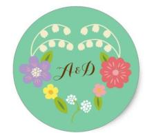 1.5inch Whimsical Rustic Flower Heart (Mint) Wedding Favor Classic Round Sticker
