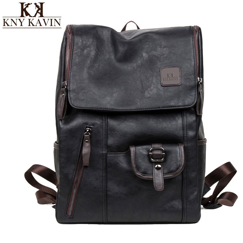 KNY KAVIN Vintage Backpacks Oil Wax Leather Backpacks Western Style Fashion Bag for Male Laptop Travel College Backpack Mochila oil wax canvas backpacks for women and men classic vintage leather bookbags school bag college travel green backpack