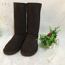 HOT Australian Women Unisex Tall Snow Boots Waterproof Winter Leather Long Boots Brand IVG Outdoor Shoes Size EU 35-45