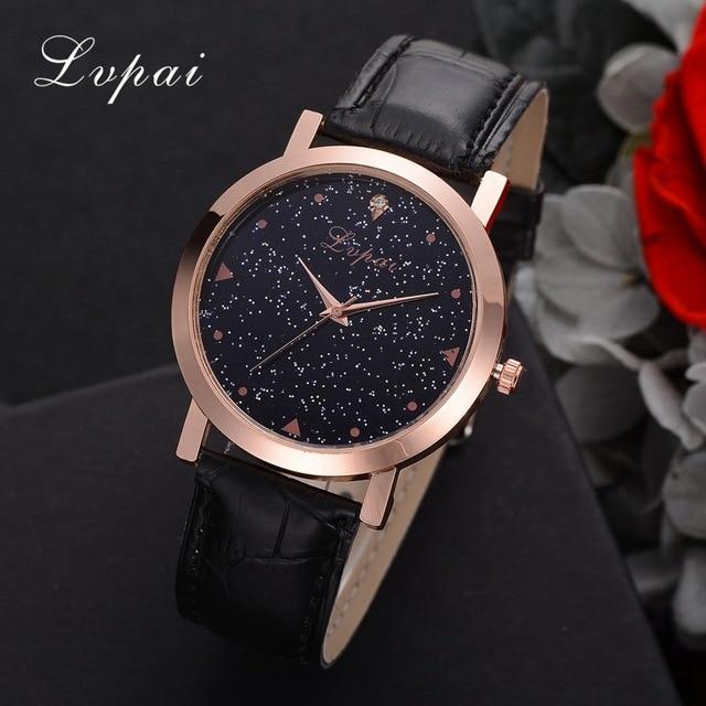 5ca09a2e7f1 Mulheres Moda De Luxo Relógio Lvpai Estrelas Da Marca Criativa Relógio com  Pulseira de Couro Senhoras