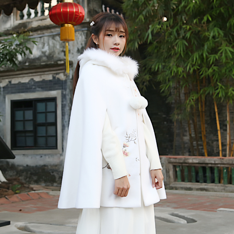 2017 Winter Woolen Coat font b Women b font Vintage Retro Cloak Fur Hooded Long Coat