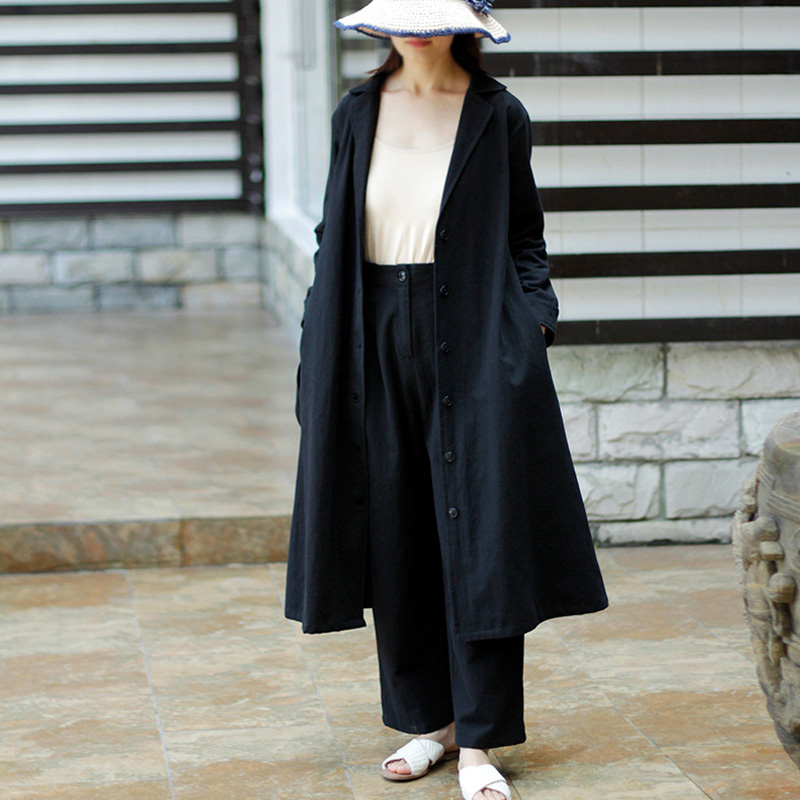 Johnature Women Solid Color Bandage Trench Coats 2019 Autumn New Trun Down Collar Long Sleeve Button