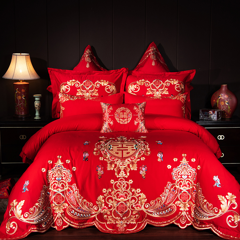 Luxury Gold Royal Embroidery 100% Cotton Red Chinese Style Wedding 4/6/9pcs Bedding Set Duvet Cover Bed Sheet/Linen Pillowcases