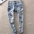 Nuevo 2017 Vintage Marcas Ripped Jeans para Mujeres Pantalones de Mezclilla de Moda Casual de Dibujos Animados de Lápiz Más Los Pantalones del Tamaño 8913