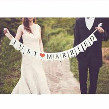 White Paper Just Married Banner With 3M Ribbon Wedding Garland Bunting Flag Romantic Hen Party DIY Decoration Photo Props