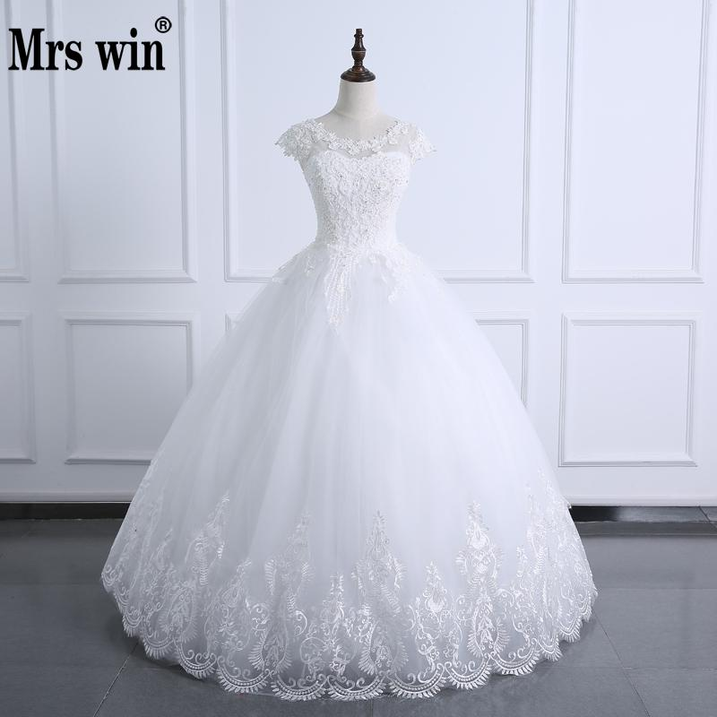 2019 Ball Gown Wedding Dress Lace Body Pearls Short Sleeve Wedding Gown Plus Size Real Image Bridal Gown Vestido De Noiva
