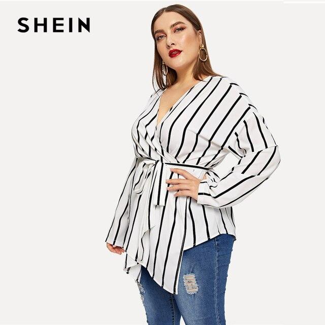 SHEIN White Asymmetrical Plus Size V-neck Belted Striped Blouses Women 2019 Elegant Spring Long Sleeve Highstreet Tops Blouse 2