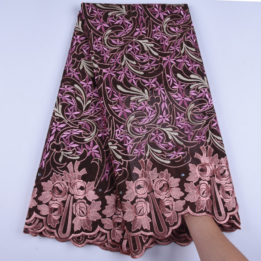 2019 Latest Nigerian Laces Fabrics High Quality Lace African Laces Fabric Wedding Swiss Voile Lace In