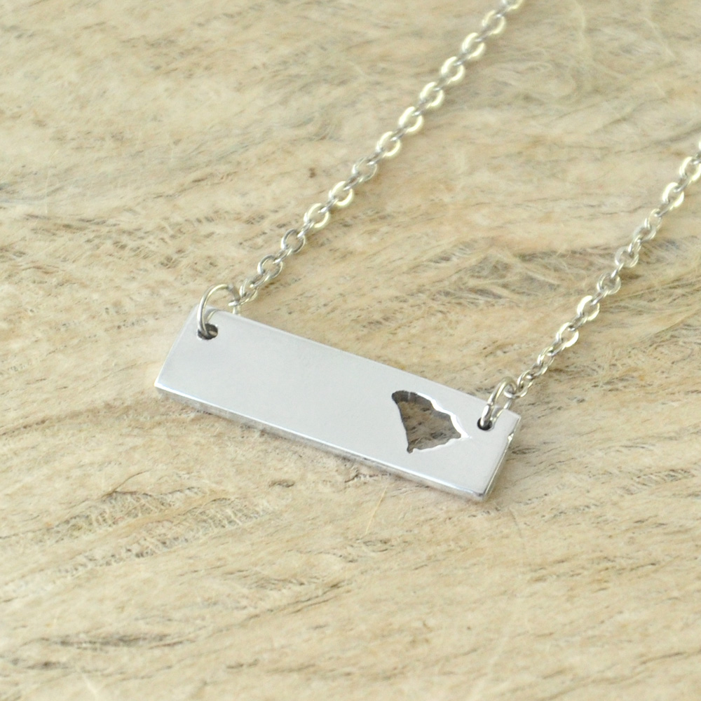 South Carolina Bar Necklace Cut Out Map Necklace Alloy State Necklace Map Charm Custom Map State Pride Bar Necklace