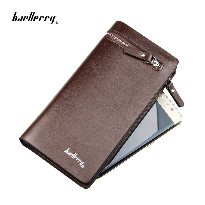 New business men's wallet long zipper purse Genuine Leather wallets section of the multicard handbag men card holder coin purse