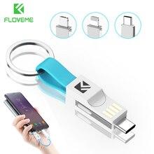 Floveme 3 in 1 미니 키 체인 usb 케이블 마이크로 usb type c for iphone ipod 고속 충전기 데이터 동기화 충전 케이블 cabo cord cabel