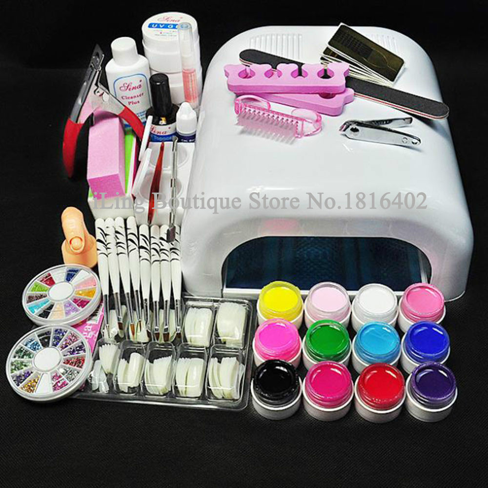 Professional Full Set Uv Gel Kit Nail Art Set 36w Nail White Uv Lamp Kit Dryer Curining