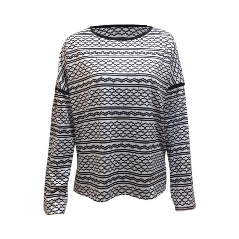 В полоску Осенняя футболка Femme Повседневная Свободная футболка Для женщин верхняя одежда с О-образным вырезом, женская футболка с длинным рукавом черная футболка женская футболка, Топ