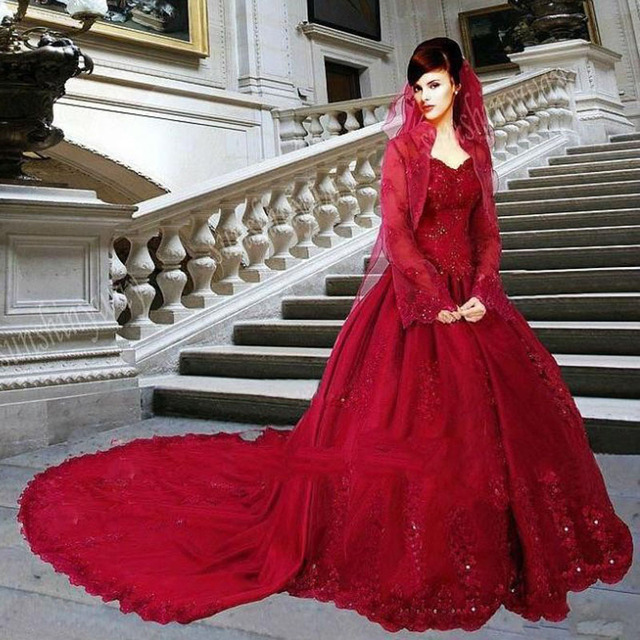 Luxury Red Lace Wedding Dresses With Jacket 2017 Detachable Train Pricess Gowns Ball Custom Made