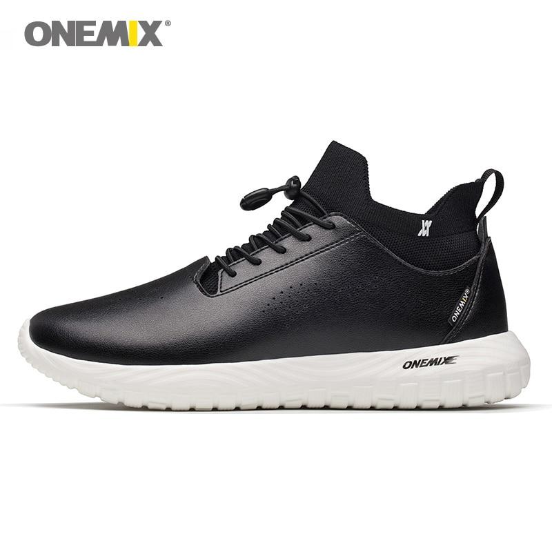 Onemix homme chaussures de course pour hommes noir microfibre cuir Designer Trail Jogging baskets Sport de plein air marche chaussettes formateurs