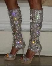 лучшая цена 2020 Summer Brand Women Open Toe Rhinestone Bling Bling High Platform Gladiator Boots Cut-out Knee High Crystal High Heel Boots
