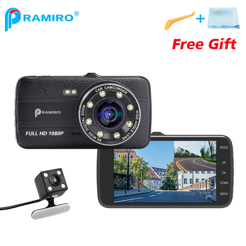 4 Inch IPS Dual Lens Front 1080P Back 720P Car DVR With Night Vision Dash Cams T800 Support LDWS FCWS Video Recording