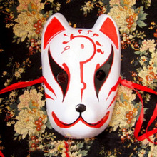 Full Face Hand-Painted Japanese Fox Mask Red Fire Pattern Cosplay Masquerade For Party Carnival Halloween