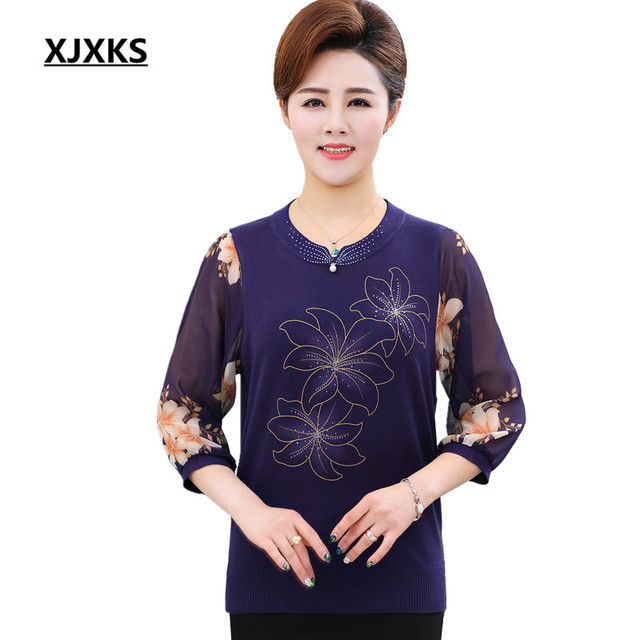 34b2ad4266fa1 XJXKS 2018 Spring and summer blouse fashion Chinese style linen silk shirt  round neck knit shirt women plus size blouses
