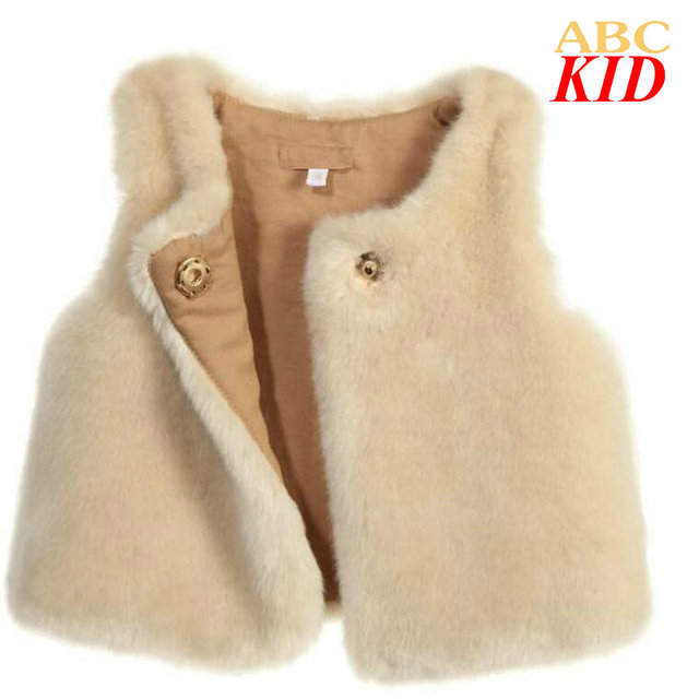Fashion faux fur vest for girls one button soft waistcoat Warm wrap Children's vests coat for new year Kids Outerwear KD058