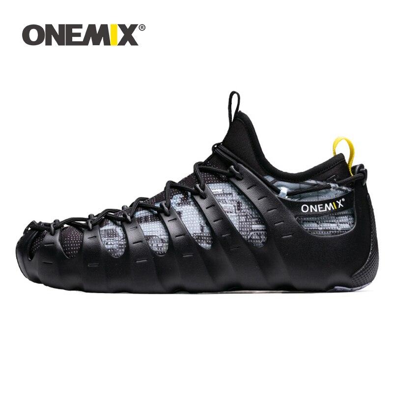Onemix été fonctionnel Rome chaussures de course 1 chaussures 3 porter respirant noir baskets deux pièces Yoga chaussures de plongée d'eau