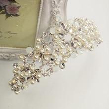 2016 Royal Regal Caliente Plateado de Quinceañera Tiaras de Novia Perlas de Cristal Transparente Pavo Real Rhinestone De La Novia Niña de las Flores