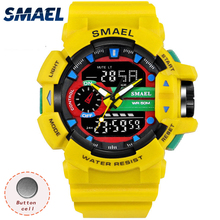 Sport Watches Waterproof SMAEL Men Fashion Watches Digital LED Watch Alarm Chronograph 1436 Dual Display Wristwatches Men Watch