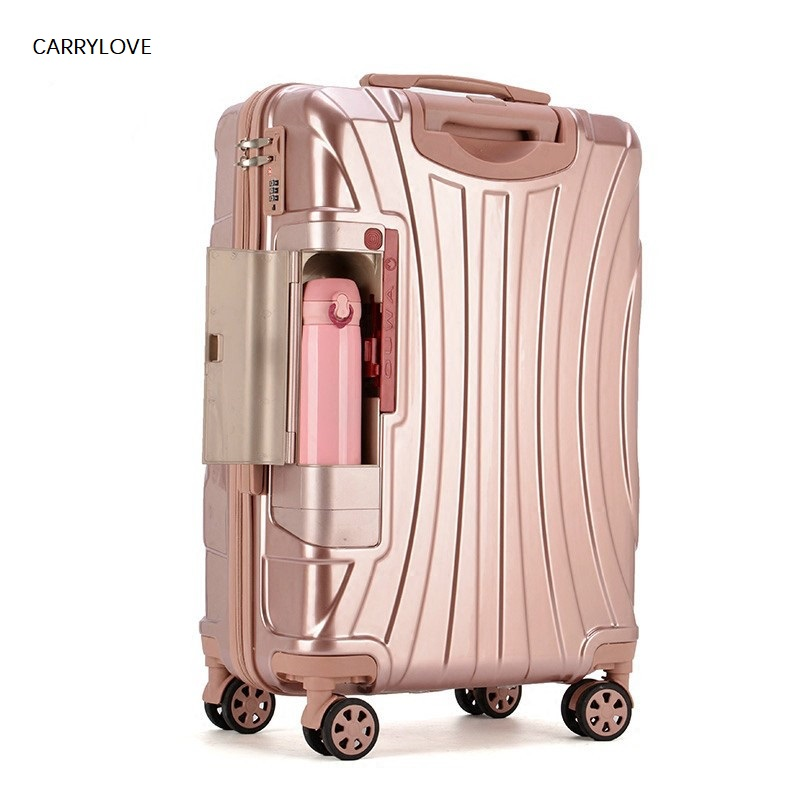CARRYLOVE PC Rolling Suitcase With Cup Holder,Travel Luggage Bag ,Universal Wheel Trip Trolley Case,20