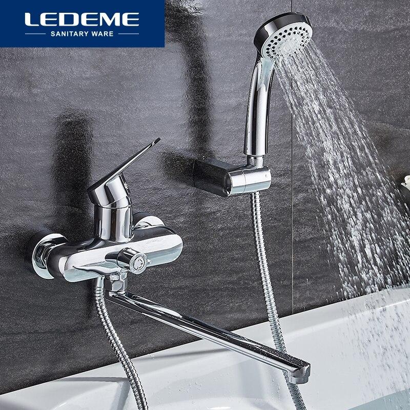 LEDEME Bathroom Bathtub Faucet Set Mixer Tap With Hand Sprayer Wall Mounted Rainfall Bath Faucet Shower