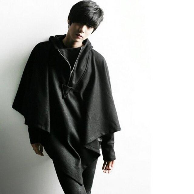 Long Hoodie Cloak Half Zip...