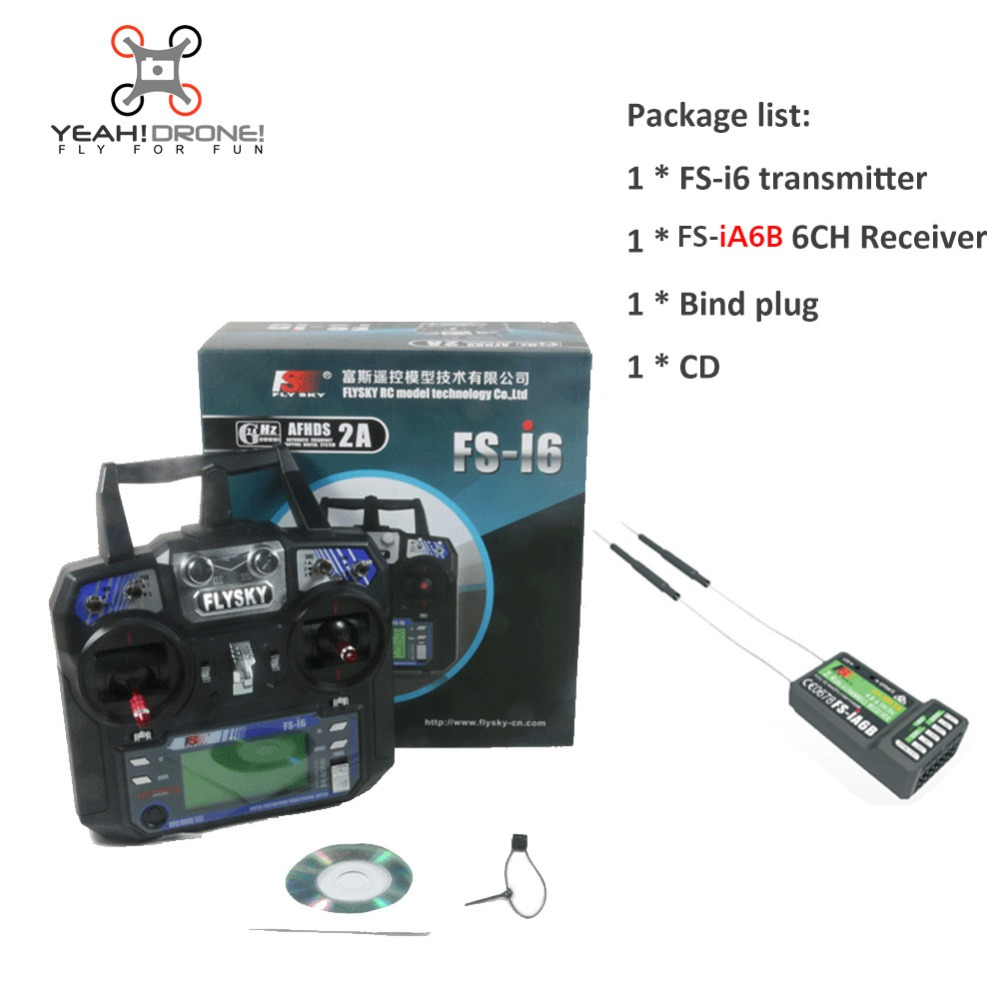 YEAHDRONE Flysky FS-i6 & iA6B FS i6 2A 2.4GHz 6CH RC Transmitter Controller iA6b Receiver for RC Quadcopter Helicopter Glider