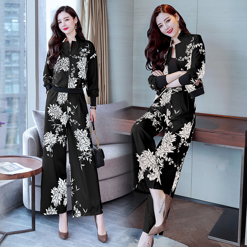 45 (1) 76.99S-3XL Women\`s suit spring and autumn new fashion temperament quality printing ladies suit two-piece suit (jacket + pants)