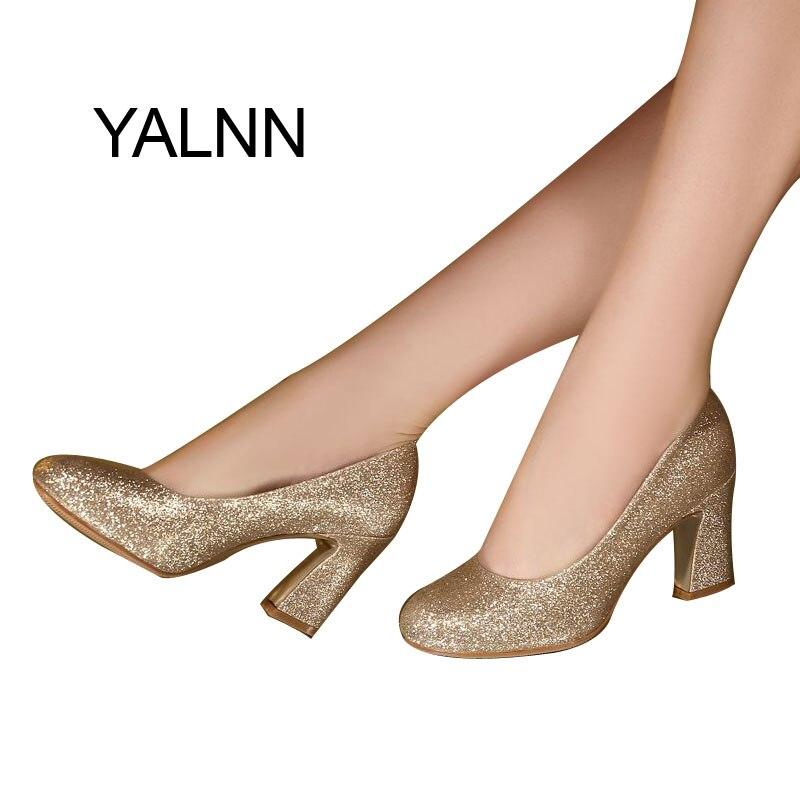 YALNN Golden Fashion Women 7CM Heels Weeding High Heel ...