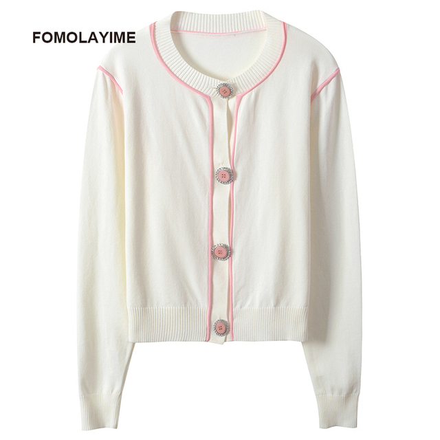 FOMOLAYIME New Cardigans 2018 High Fashion Casual Solid Women Autumn Thin Sweaters