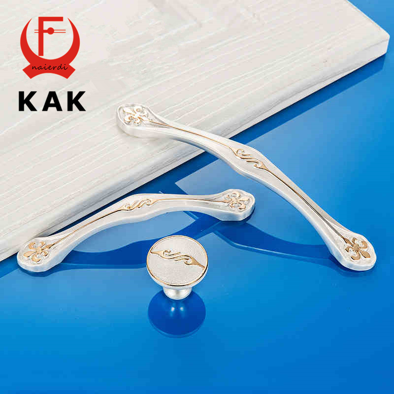 KAK European style Gold Silver Zinc Alloy Wardrobe Door Handles Cabinet Drawer Knobs 96mm 128mm single hole Furniture Hardware