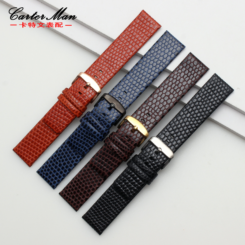 Watchband 18mm 20mm 22mm Lizard Pattern Genuine Leather Watchbands Strap Bracelets Stainless steel Watch Buckle цена