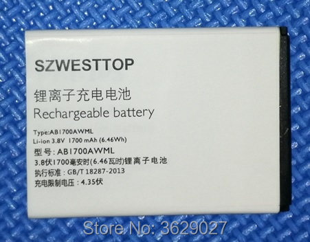 SZWESTTOP original AB1700AWML battery For philips S388 cellphone AB1700AWML Batterie for XENIUM CTS388 smart phone