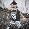 Más nuevos Del Bebé Ropa de Los Muchachos Del Cráneo Pantalones Cortos Camisetas + Pantalones 2 Unids Conjuntos de Ropa de bebé de Alta Calidad de Ropa Para Niños Juegos Para Bebés