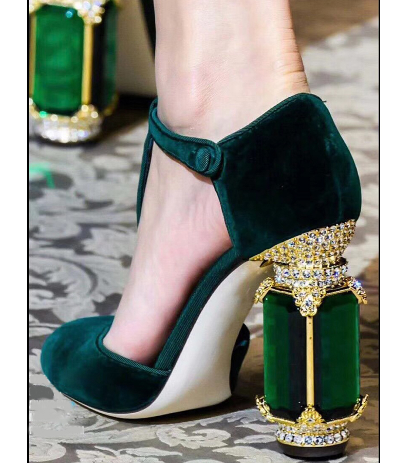 Sexy Women Pumps Chunky High Heel Pointed Toe Heels Suede Eye Dress Shoes T Strap Spring Daily Shoes