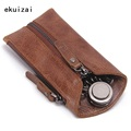Vintage Genuine Leather Key Wallet Women Keychain Covers Zipper Key Case Bag Men Key Holder Housekeeper Keys Organizer