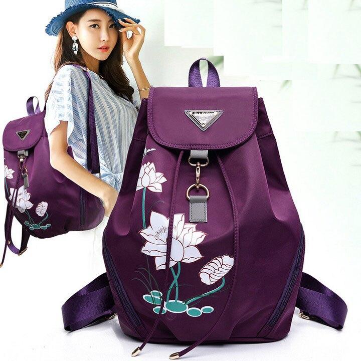 Simple Girl Printing Flower Women Backpacks for Teenage Girls Joker Women Waterproof Soft Handle Nylon Bags